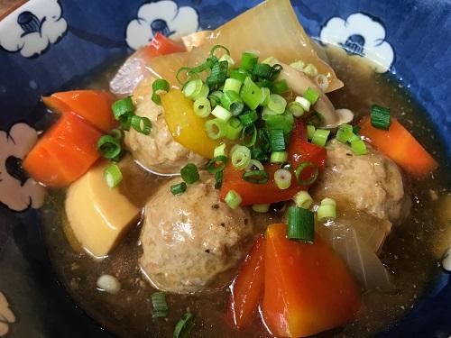 肉団子と彩り野菜の黒酢あん