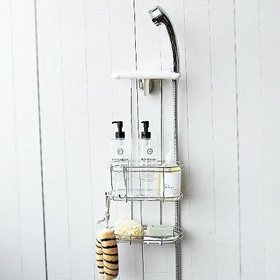 シャワーフックに掛けるだけ「ステンレスシャワーラック」(2段)